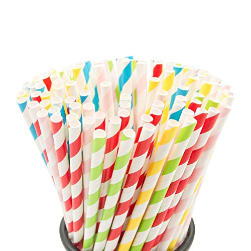 Assorted Rainbow Colors Striped Drinking Straws
