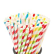 100PCS Biodegradable Paper Straws Bulk, Assorted Rainbow Colors Striped Drinking Straws for Juice, shakes, Cocktail, Coffee,Soda, Milkshakes, Smoothies,Celebration Parties and Arts Crafts Projects