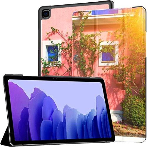 Funda para Samsung Galaxy Tab A7 Tableta de 10,4 Pulgadas 2020 (sm-t500 / t505 / t507), Tradicional Calle Casas griegas Flores Assos Funda de Soporte de ángulo múltiple con activación/suspensión au