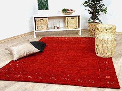 Theko Natur Teppich Indo Gabbeh Indira Rot in 8 Größen