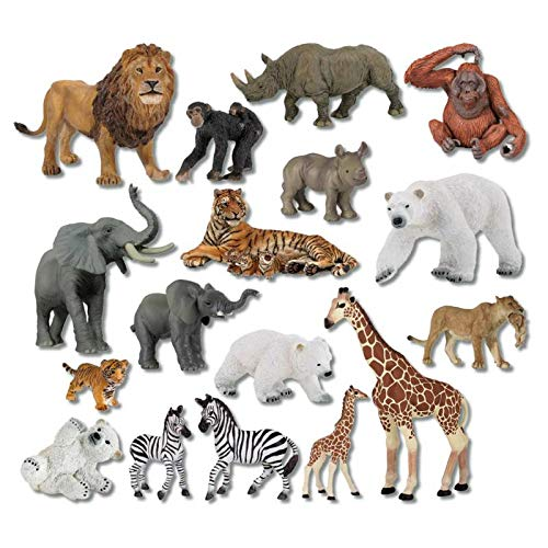Wiemann Lehrmittel 21 Zootiere im Set, handbemalte Papo-Tiere, Spielzeugfiguren