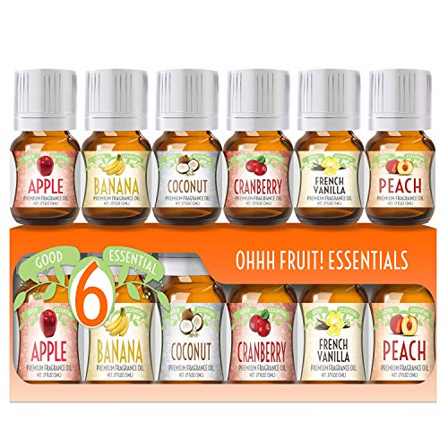 Fragrance Oils Set of 6 Scented Oils from Good Essential - Banana Oil, Cranberry Oil, Apple Oil, Coconut Oil, French Vanilla Oil, Peach Oil: Aromatherapy, Perfume, Soaps, Candles, Slime, Lotions!