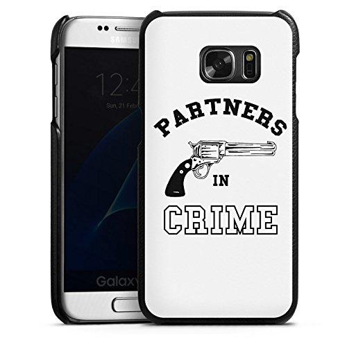 DeinDesign Samsung Galaxy S7 Lederhülle Leder Case Leder Handyhülle Pistole Crime Freundschaft