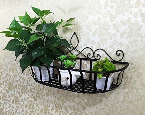 QFF Fer fleur cadre mur suspendu fleur rack décoration mur fleur panier suspendu panier balcon fleur cadre fleur pots suspendu bleu vert radis plante verte ( Couleur : Noir , taille : 60*20*29cm )