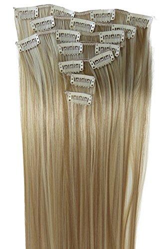 PRETTYSHOP XXL 60cm 8 teiliges SET Clip In Extensions Haarverlängerung Haarteil hitzebeständig glattblondmix Strähnen 27H613 CES14