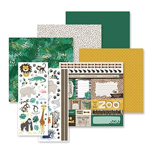 Creative Memories What A Zoo Tiermotive Set mit Papier und Stickern, Scrapbook und Kartenherstellung