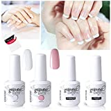 Vishine Gel Polish French Manicure Kit Top Base Coat Set Nail Gel Color White Pink Pedicure