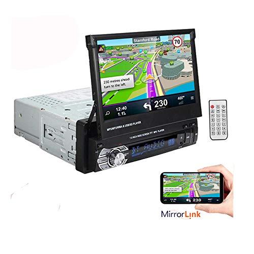 1 DIN 7 Pulgadas 1080P Reproductor de Radio estéreo para automóvil Soporte de Pantalla táctil LCD Función de Enlace de Espejo Manos Libres Bluetooth
