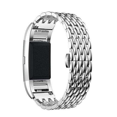 DEXRON voor Fitbit charge 2 riem, vervanging metalen banden zilver Rose goud met strass steentje, roestvrij staal polsbanden/sieraden Bangle/armband
