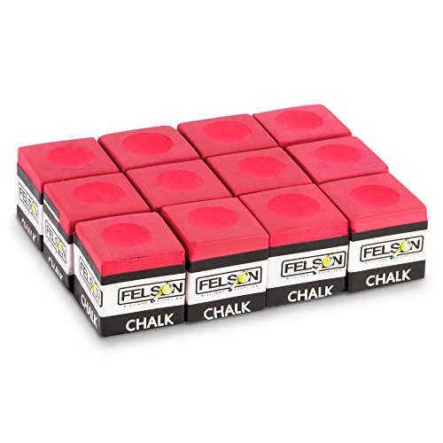 Best Price! Felson Billiard Supplies Box of 12 Cubes of Pool Cue Chalk, Billiard Accessories (Red)