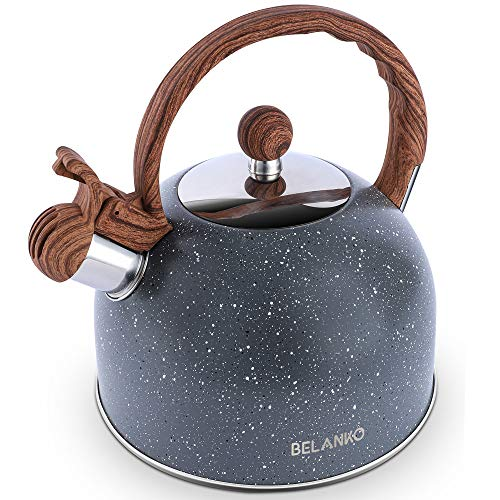 Tea Kettle, 2.3 Quart / 2.5 Liter BELANKO Stainless Steel Tea Kettles , Food Grade Stovetops Tea pot with Wood Pattern Handle Loud Whistling for Tea, Coffee, Milk etc, Gas Electric Applicable - Gray