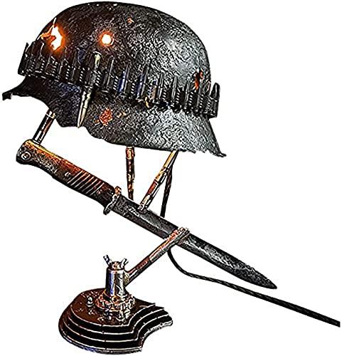 Lámpara De Reliquia De Guerra: Recordando Esa Historia, Lámpara De Batalla Hecha De Cascos, Bayonetas Y Balas, El Mejor Regalo Para Entusiastas Militares (B)