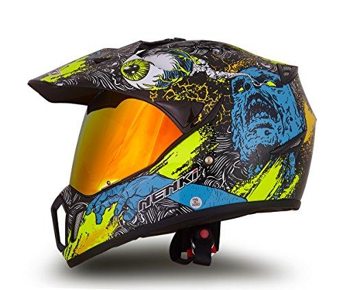 Dual Sport Helmet by NENKI Full Face Motocross & Motorcycle Helmets Dot Approved with Iridium Red Visor Attached Clear Visor NK-310 (L, Green Skull Graphic)