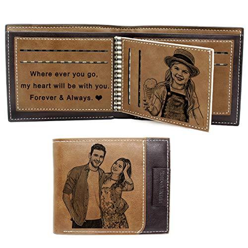 Personalisiert Foto Geschenk, Foto Geldbörse mit Gravur, Geldbörse Herren,Dreifach Gefaltete Geldbörsen für Damen (Braun)
