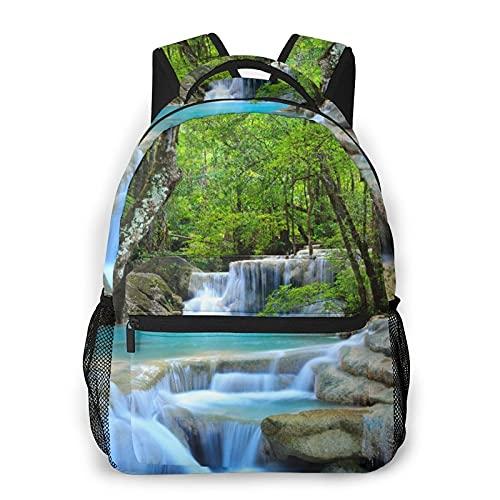 Alvaradod Mochila para portátil de viaje,cascada de Erawan,Kanchanaburi,Tailandia,mochila antirrobo resistente al agua para empresas,delgada y duradera