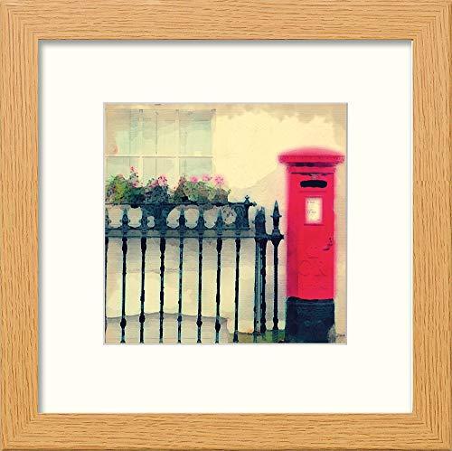 L Lumartos London Red Briefkasten, modernes Deko, Wandbild, Aquarelldruck, helle Eiche, 30,5 x 30,5 cm