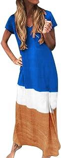 Women V-neck Short Sleeve Maxi Dress ❀ Ladies Plus Size Summer Color Patchwork Casual Long Dress Loose Party Dress