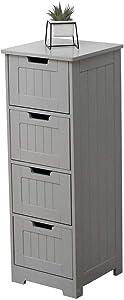 Etnicart - Mobile bagno ingresso e soggiorno a 4 cassetti in legno MDF 30 X 30 X 81 cm. Colore grigio-Prodotto di QUALITA'