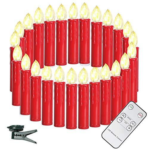 SunJas 40er Weinachten LED Kerzen Weihnachtsbeleuchtung, 3 verscheidene Lichtmodifikationen, Weihnachtskerzen, Weihnachtsbaum Kerzen mit Fernbedienung kabellos, Lichterkette für Christbaumsdeko