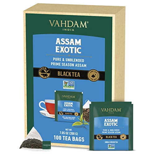 VAHDAM, ORGANIC Assam Black Tea (100 Tea Bags) - Long Leaf Black Tea Tea Bags - RICH & MALTY - Breakfast Tea Bags, FTGFOP1 Grade, 100% Certified Pure Unblended Assam Tea Loose Leaf in Pyramid tea bags