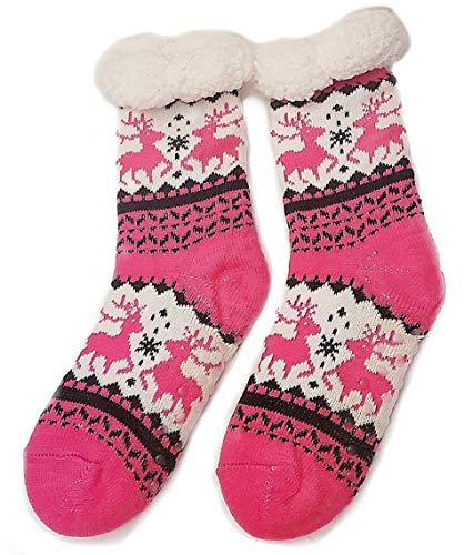 Deluxe Sherpa Fleece Lined Knit Non-Slip Slipper Socks (Design 3)