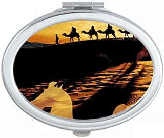 Desert Along the Way to the Silk Road Map Camel Mirror Portable Fold Hand Makeup Double Side Glasses
