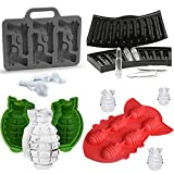 (Set of 4) Grenade Ice Ball Mold for Whiskey, Handgun Pistol & AK47 Bullet Ice Cube Trays, Bomb Missile Silicone Chocolate Candy Mold, Weapon Series Party Favors Supplies for Kids Adults Military Fans