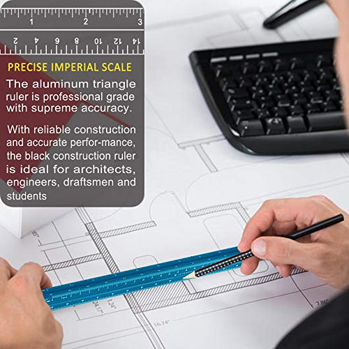 """Architectural Scale Ruler, 12"""" Aluminum Architect Scale, Triangular Scale, Scale Ruler for Blueprint, Triangle Ruler, Drafting Ruler, Architect Ruler, Metal Scale Ruler, Architecture Ruler Photo #6"""