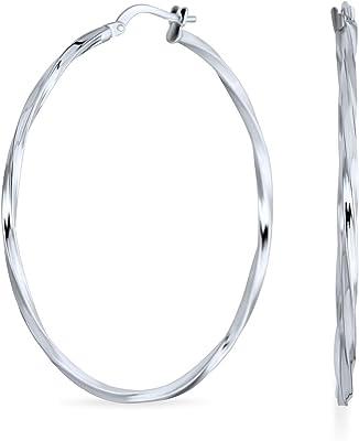 Cavo di filo base Twist Sottile Grande Cerchio Orecchini per donna per teen 925 Sterling Argento 1.8 Inch Dia