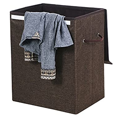 BEWISHOME Large Laundry Basket Hamper, Dirty Clothes Basket w/Velcro & Lid, Foldable Hampers with Removable Liners & Durable Double Handles for bedroom, laundry room, bathroom Brown YYL01Z