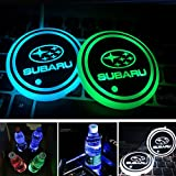 Aswelly LED Car Cup Holder Lights, 7 Colors Car Logo Coaster Changing USB Charging Mat, LED Luminescent Cup Pad Interior Atmosphere Lamp for Car Accessories (Fit Suba-ru)