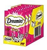 Dreamies Klassiker Katzensnacks mit Rind – Traumhaft knusprige Taschen mit zarter Füllung – 6 x 60g