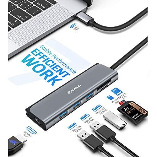 VaKo USB C Hub - 4K HDMI Adapter 7 Ports mit 3X USB 3.0 Ports, SD/TF Kartenleser, 4K@30Hz HDMI für MacBook Pro/Air, Chromebook und weitere Typ C Geräte