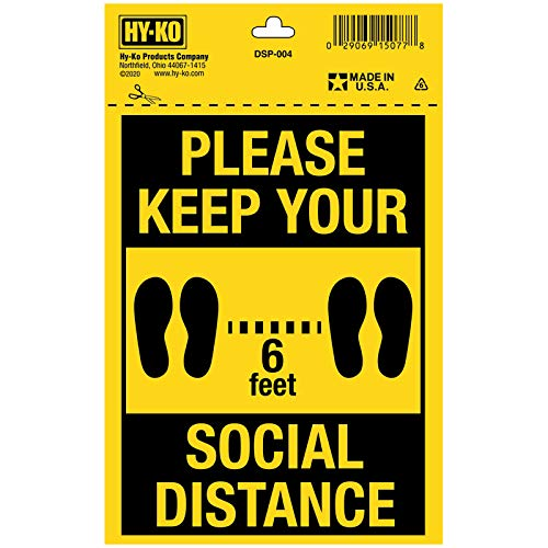 Hy-Ko++English++Black++Social+Distancing++Sign++7+in.+H+x+5+in.+W