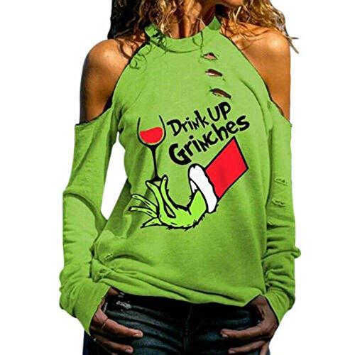 SKYROPNG Frauen-Sweatshirt-Oberteil Mit Buchstaben Bedruckt Trinken Grinches Ausschnitt Kalte Schulter,L