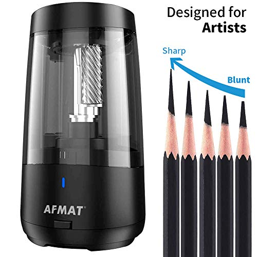 AFMAT Long Point Pencil Sharpener, Rechargeable Electric Pencil Sharpener, Heavy Duty Pencil Sharpener for Artists, 6.5-8.5mm Charcoal Graphite Pencils/Drawing Pencils Sharpener, 5 Adjustable Nibs