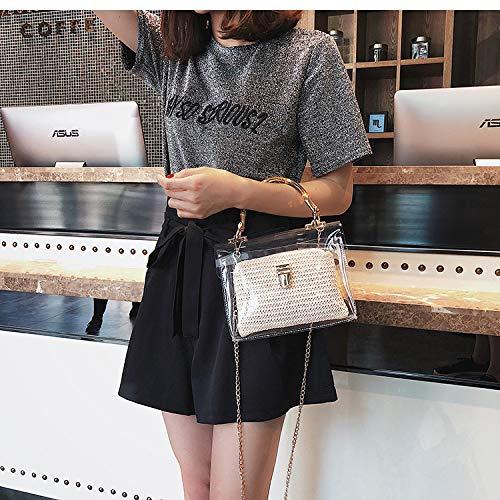 OneMoreT Transparente Tasche für Frauen 2019 Handtasche mit Bambus-Griff, Sommer, kleine Kette, Umhängetaschen, Strandtaschen beige