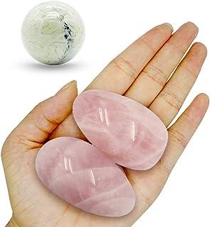 Pierre de paume-2 pièces Pierre de quartz rose, Pierres Thérapeutiques, pierre d'inquiétude, Paquet cadeau