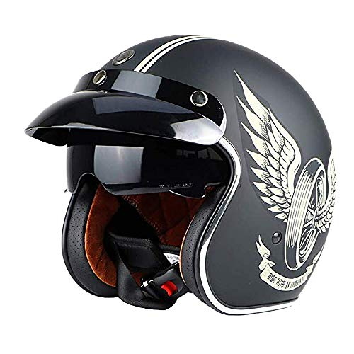 DKZK Jethelm Helm Motorradhelm Retro-Moto-Helm mit Sonnenblende Vintage Motorrad Motorrad Halbhelm Elektro-Fahrrad-Schutzhelm, DOT/ECE-Zulassung für Männer und Frauen, 55-62 cm