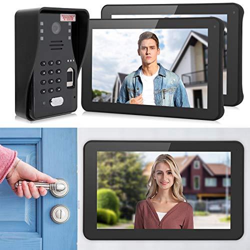 ASHATA Videoportero de 9 Pulgadas, WiFi con Cable, 2 monitores de Timbre, Timbre de videoportero, Videoportero 1080P, Soporte para teléfono móvil, Desbloqueo de Tableta(Transl)
