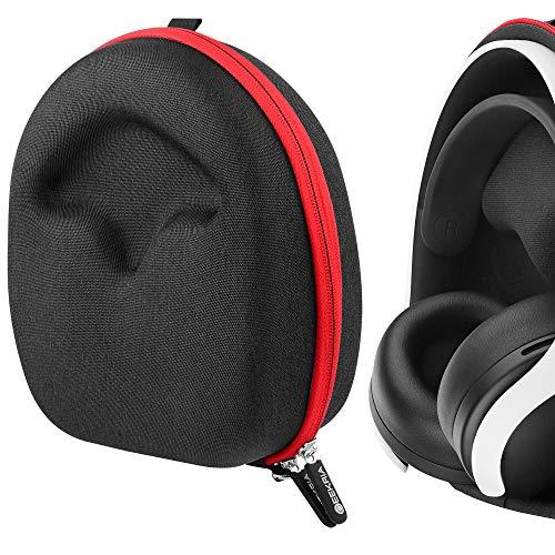 Geekria UltraShell Schutzhülle für PlayStätion 5 PULSE 3D Wireless Headset Kopfhörer, Ersatz Schutzhülle Hartschale Reisetasche mit Platz für Zubehör (schwarz)