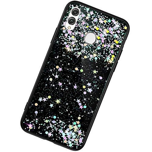 Funda Compatible con Huawei Honor 8X.KunyFond TPU Silicona Lentejuela Brillo Brillante Suave Carcasa Estrella Purpurina Glitter Cover Moda Lindo Ultra Slim Anti-caída Bumper Case,Negro