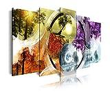 DekoArte 461 - Cuadros Modernos Impresión de Imagen Artística Digitalizada | Lienzo Decorativo para Tu Salón o Dormitorio | Estilo Paisaje Ying Yang Cuatro Estaciones del Año | 5 Piezas 200x100cm XXL