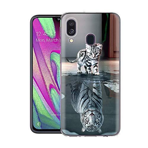 Zhuofan Plus Coque Samsung Galaxy A40, Silicone Transparente avec Motif Design Antichoc Housse de Protection TPU 360 Bumper Souple Case Cover pour Samsung Galaxy A40 5,9 Pouces, Katzentiger