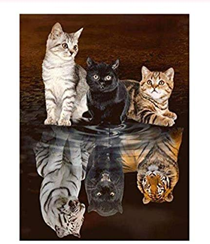 XXIAOHH DIY kreatives Puzzle 500 Teile Katze Tiger -Tier Spiel und ErwachseneKinderspielzeug3D Wohnkulturwooden53x38cm