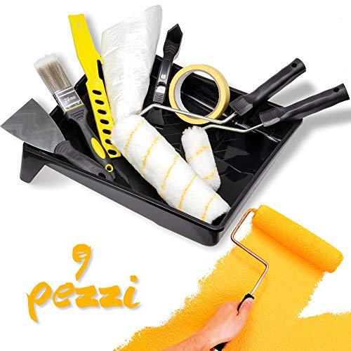 Tradelux® Rullo Per Pittura Professionale [Nuova Versione] Teli Antigoccia Pennelli Set Kit Fai Da Te Verniciare Imbiancare Spatola Stucco Per Tintegg