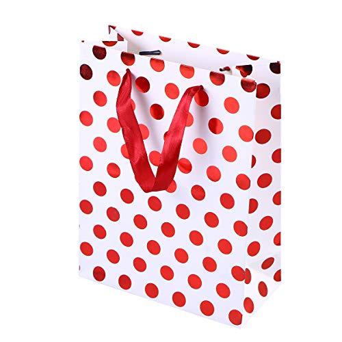 Amosfun 10 stücke Geschenk Papiertüten mit Tupfen Muster Band Griff Geschenk Taschen Einkaufstüten Süßigkeitstaschen für Kinder Geburtstag Hochzeit Party Supplies Gefälligkeiten (Rot)