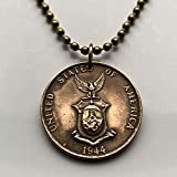 1937 USA Philippines 1 Centavo coin pendant Filipino Pilipinas eagle Manila Pinoy MIMAROPA Region Caraga Calabarzon n000419