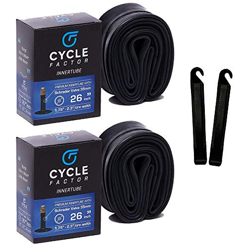 """Cycle Factor 26"""" Mountain/Hybrid Bike Inner Tube 2 Pack 26x1.75/2.3 Inch Replacement + 2 Tire Levers, 35mm Schrader Valve - Premium Butyl Rubber Bicycle Tires, Long-Lasting Inflation"""