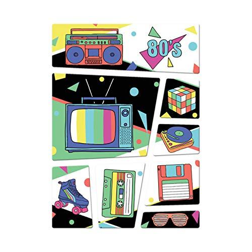 trendaffe - Retro Kühlschrankmagnete 8er Set zum Thema 80er Rollschuhe Zauberwürfel Kassette